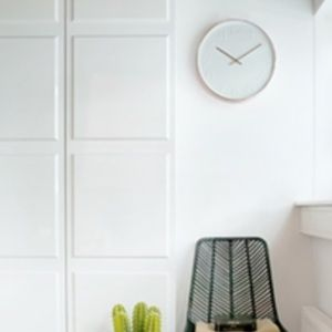 Gold and White Wall Clock